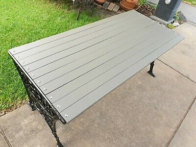 Heavy And solid Vintage Cast Iron Sides And MERBAU TIMBER SLATS GARDEN TABLE