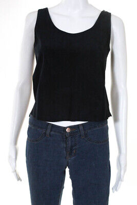 Theory  Womens Scoop Neck Tank Top Navy Blue Suede Size Extra Small