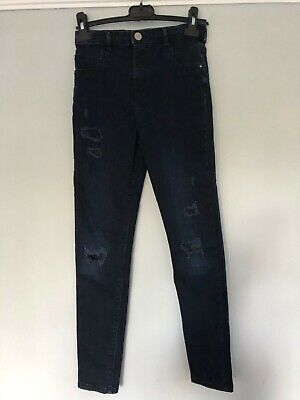 Girls 'River Island' high waist skinny jean, with ripped detail, ex cond, Age 12