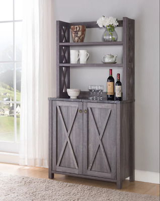 Farmhouse Kitchen Storage Pantry Cabinet Hutch Buffet Server Rustic Wood Gray