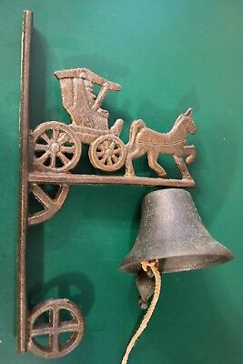 Vtg Antique  Cast Iron DOOR DINNER BELL Wall Hanging Cariage Coach Buggy Horse