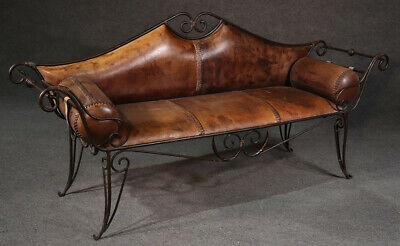 Early Hand Wrought Iron Leather Upholstered Italian Settee Window Bench C1920s