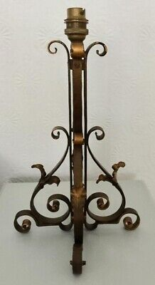Vintage Arts & Crafts Style Wrought Iron Table Lamp Needs Wiring