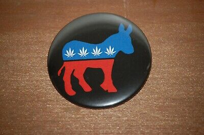 Bernie Sanders 2020 Marijuana Democrat Donkey Button  2.25 inch Pin Back - Black