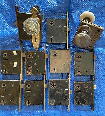 ** Lot (12) Old Vintage Metal Door Locks / Hardware / Knobs / Parts (No Keys) **
