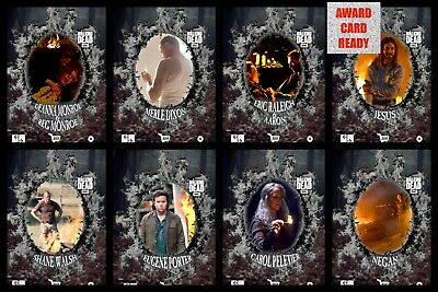WOOD & FIRE WAVE 1 ASH FIRE DIE-CUT 7 CARD SET Topps WALKING DEAD DIGITAL TRADER