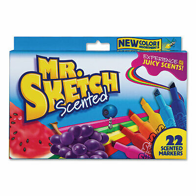 Mr. Sketch Scented Watercolor Marker, Broad Chisel Tip, Assorted Colors, 22/Pack