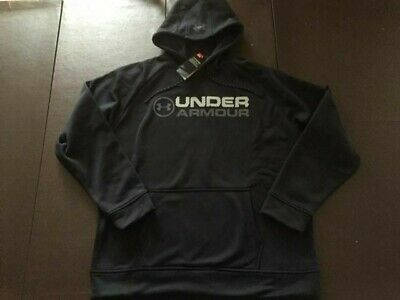 NWT Under Armour Mens Storm Fleece Wordmark Hoodie Black 1313505 Medium $55
