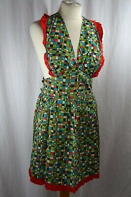 VINTAGE 1960s green, red, blue bright check full length frilly apron NEVER USED