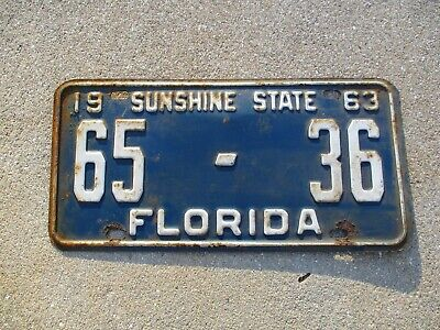 Florida 1963 license plate # 65 - 36