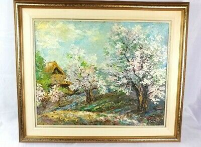 Blossom Tree Oil Painting Veneranda Vabalis 1933-2011 Latvian Cdn Listed Artist