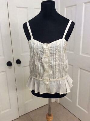 Antique Vintage Victorian White Cotton Camisole Ruffled Pleated Front ~ 36 Bust