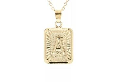 Womens Gold Filled A-Z Initial Necklace Letter Pendant Box Chain
