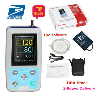 USA shipping Ambulatory Blood Pressure Monitor+Software 24h NIBP Holter ABPM50