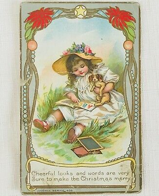 Antique Embossed Victorian Christmas Postcard by AMP Co.- Girl with Puppy
