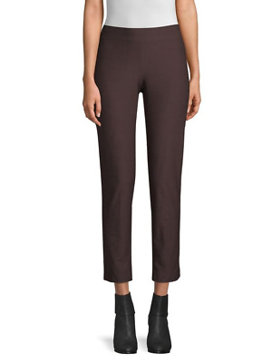 NEW Eileen Fisher Stretch Crepe Slim Ankle Pants in Clove - Size PM #P575