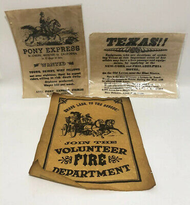 Lot of 3 Pony Express Riders Wanted Poster Join Volunteer Fire Department Texas