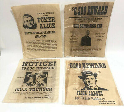 4 Western Wanted Reward Posters Poker Alice Cold Younger Jess James Sundance Kid