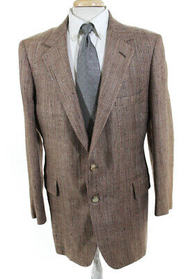 Bergdorf Goodman Mens Two Button Woven Suit Jacket Brown Size 38