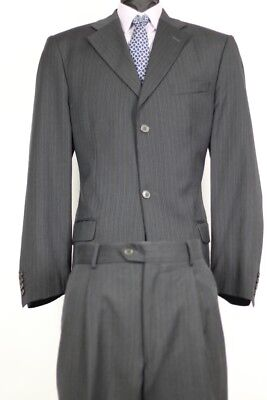 Sartoria Borghese Navy Striped 2B. Single Pleat Wool Suit 42L/36 Euc