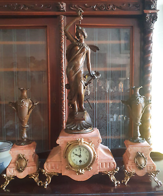 Antique French Clock JAPY FRERES Marble ART NOUVEAU Statue Copper Working Signed