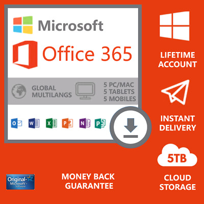 MS office 365 Pro Plus 2019 Lifetime account 5 Devices PC Win/Mac NEW-account