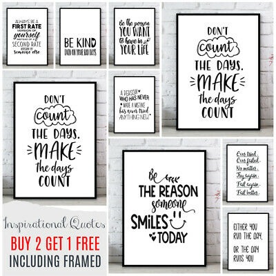 Inspirational Motivational Art Quote Poster Prints. Quality Home Wall Pictures