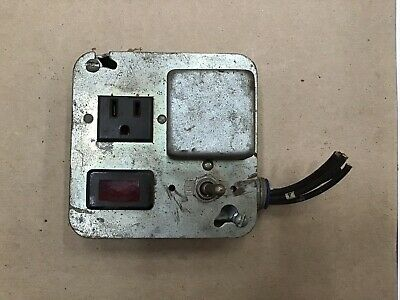 VINTAGE ELECTRICAL SWITCH Box And Plug In WITH RED LIGHT And Toggle Switch A8