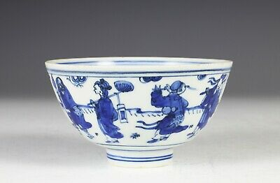 Fine Antique Chinese Blue and White Porcelain Immortals Bowl Wanli Mark Period