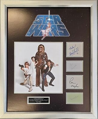Star Wars  Harrison Ford Carrie Fisher Mark Hamill Peter Mayhew Signed  Aftal