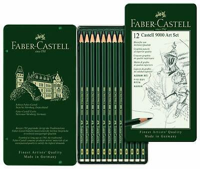 Faber Castell 9000 Art Design Graphite Pencils - Tin Set of 12 Pencils New