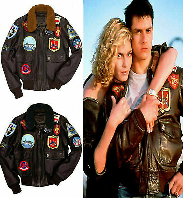 Top Gun Tom Cruise A2 (2020) Jet Pete Maverick Fighter Bomber Cow Leather Jacket
