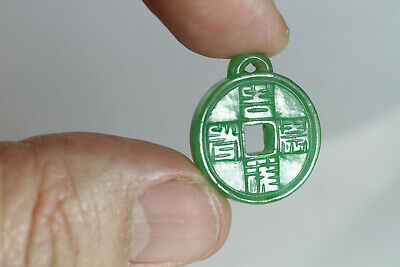 Antique Chinese c1900 Small Jadeite Pendant Coin Form Calligraphy FINE Jade