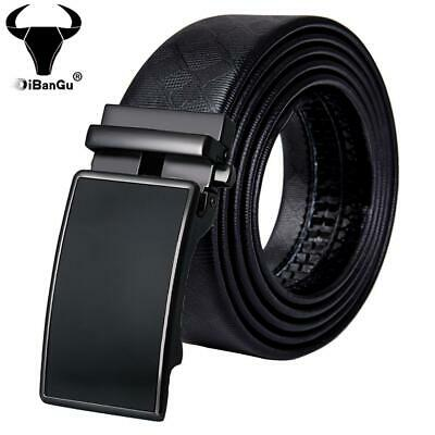 Pure Black Automatic Buckles Mens Belts Leather Ratchet Formal Waist Straps Gift