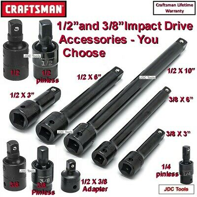 "Craftsman 1/2"" 3/8"" Drive Impact Extensions Universals Adapters Sets 3 4 6 8 10"