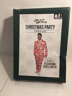 Life of the party LED Light-Up Christmas Sweater 3-Piece Holiday Party Suit XXL