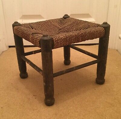 Antique Wooden Foot Stool with String Seat