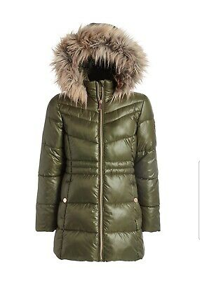 Michael Kors Girls Knit-Waist Puffer Coat With Removable Faux-Fur-Trimmed 10-12