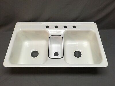Vtg Cast Iron Triple Basin NOS White Porcelain Drop In Kitchen Sink Old 79-20E