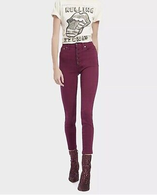 $265 Alice + Olivia GOOD HIGH-RISE EXPOSED BUTTON Skinny CURRENT Jeans * Sz 30
