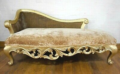Antique style carved bergere cane chaise longue - day bed sofa settee
