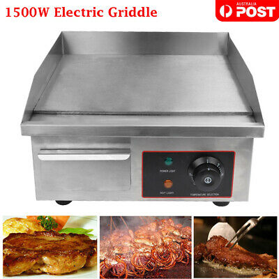 NEW 1500W Electric Griddle Hot Plate 304 Stainless Steel Grill Commercial BBQ AU
