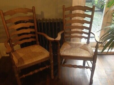 Pair of ARTS AND CRAFTS RUSH SEATED ARMCHAIRS