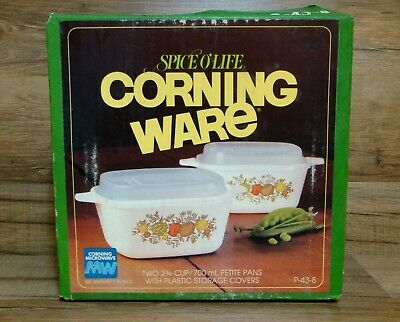 New Corning Ware - Spice Of Life - 2 1/2 Cup Petite Pans & Storage Lids - P-43-B