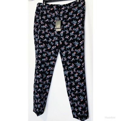 Adrianna Papell Womens Black Floral Stretch Dress Pants Ankle Length Sz 10 NWT