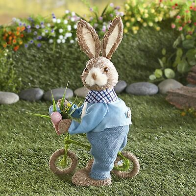 Easter Bunny On The Go Figurine with Miniature Bicycle - Holiday Decor