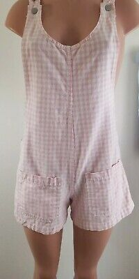 Vintage 90's Pink Gingham Overall jumper Shorts Medium