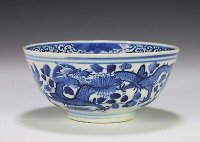 Antique Chinese Blue and White Porcelain Bowl with Dragons