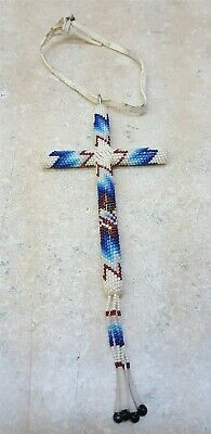 Nice Hand Crafted Fully Cut Beaded Blue/White/Red Native American Indian Cross