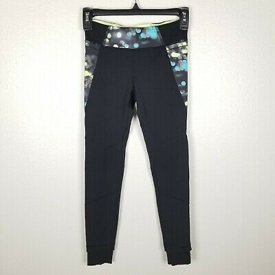 Ivivva Girls 10 Leggings Neon Dot Bicycle Reflective Ankle Cuff Pocket Black